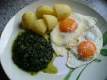 Spinat, Spiegeleier und Kartoffeln - Rezept