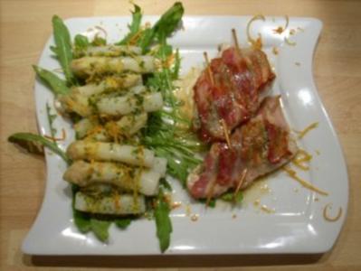 Spargelsalat an Kalbsschnitzel a la Saltimbocca - Rezept