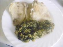 Reis-Spinat mit Kochfisch oder Schweinkammscheiben - Rezept