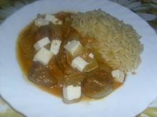 Rindergulasch mit Feta-Käse ~ Stifatho me feta - Rezept