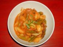 Resteverwertung oder Gnocchi mit grünem Spargel in Tomatensauce - Rezept