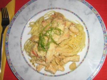 Scharfes Hähnchengeschnetzeltes mit Fenchel an Spaghettini - Rezept