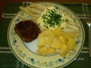 Stangenspargel mit Kartoffeln und Frikadellen - Rezept