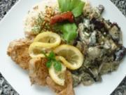 Schweine-Medaillons mit Pilzen in Cognac-Rahm an Vanille-Reis - Rezept