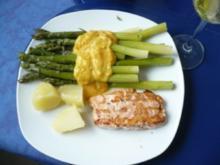 Lachs , Orangensoße und grüner Spargel - Rezept