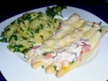 Spargel überbacken mit einer Käse-Sahnesoße und Petersilienkartoffeln - Rezept