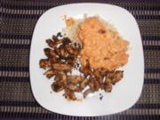 Hähnchengyros mit Reis und cremigen Paprika-Tomatengemüse - Rezept