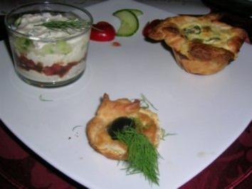 Thunfisch-Mascarpone Creme im Glas mit Lauch-Mascarpone Törtchen - Rezept