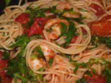 Meeresfrüchte/ Spaghetti mit Garnelen und Rucola - Rezept