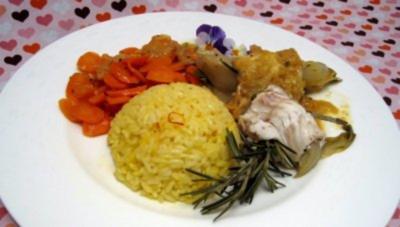 Seezungenröllchen mit Orangen, Estragon, Chicoree und Safranreis - Rezept - Bild Nr. 2