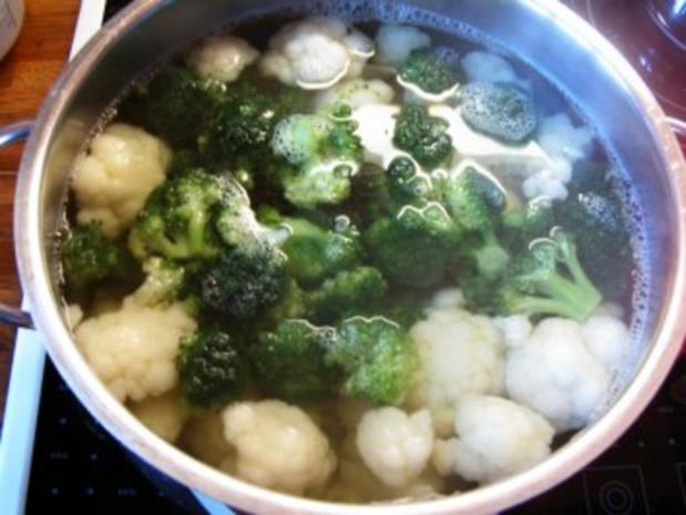 Blumenkohl-Broccoli-Kartoffel Gratin mit Hähnchenbruststreifen - Rezept