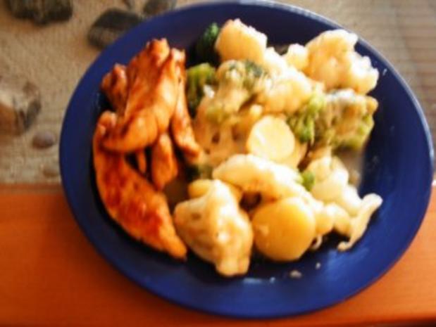 Blumenkohl-Broccoli-Kartoffel Gratin mit Hähnchenbruststreifen - Rezept - Bild Nr. 4