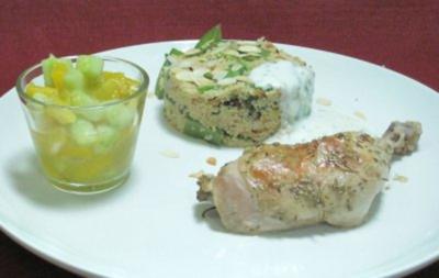 Zitronenhühnchen an Gemüse-Couscous und kleinem Mango-Gurkensalat - Rezept - Bild Nr. 2