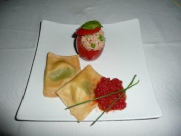 VORSPEISENTELLER/GEMISCHT 4:Ravioli Ziegenfrischkäse&Tomate gefüllt mit Thunfisch - Rezept