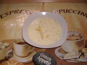 Spargelcremesuppe mit Frischkäse - Rezept