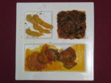 Schweinefiletröllchen gefüllt mit Fetacreme an Kartoffel-Paprikapüree u. Ofengemüse - Rezept - Bild Nr. 2