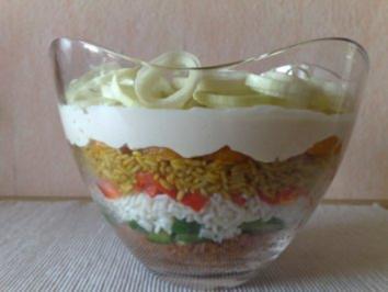 Geschichteter Reissalat - Rezept