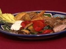 Kalbsteak mit Rosmarinkartoffeln und Gemüsekombination (Dieter Landuris) - Rezept