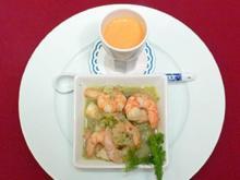 Gazpacho-Shot und pikante Shrimps - Langostinos picantes - Rezept