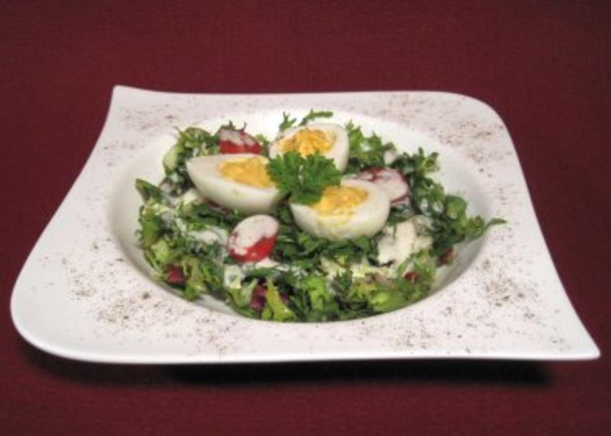Bilder für Pikant gefüllte Eier auf Salat - Rezept
