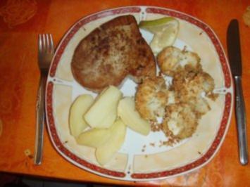 Gelbflossen - Thunfish - Tranchen, Blumenkohl und Salzkartoffeln - Rezept