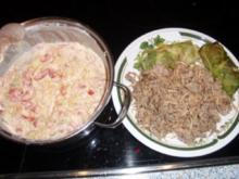 Spitzkohlrouladen mit Frischkäsesauce - Rezept