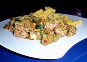 Filet-Gemüse-Pfanne mit Maisnudeln - Rezept