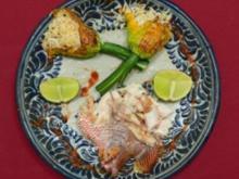 Red Snapper mit Knoblauch, Reis und Zucchiniblüte - Rezept - Bild Nr. 2