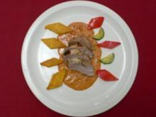 Filet Fontina an Tomatensoße mit Maispolenta und Zucchini-Paprikagemüse - Rezept - Bild Nr. 2