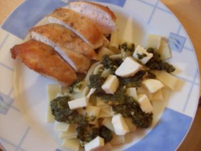 Spinat-Nudeln mit Hähnchenfilet - Rezept