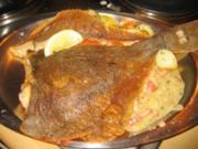 Fisch: Gebratene Scholle an Speck-Zwiebel Sößchen - Rezept