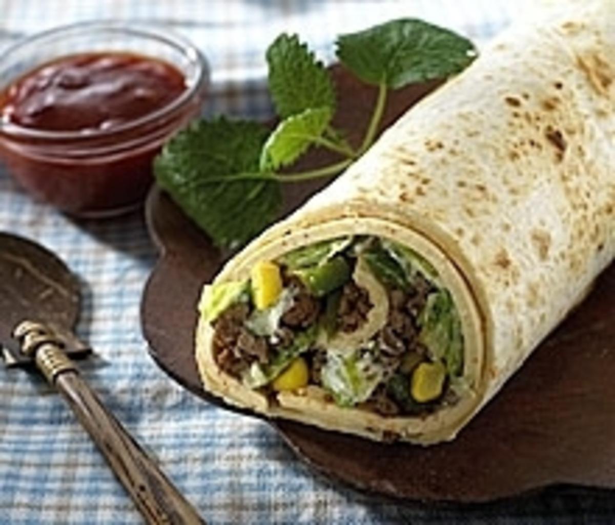 Mexikanischer Burrito mit Rindfleisch-Käsefüllung - Rezept By Kuhnke