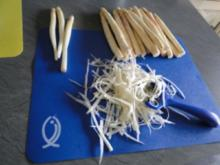 Gebratener Spargel mit gebr. Schinken, Pilze und und Parmesan, ergibt - Rezept