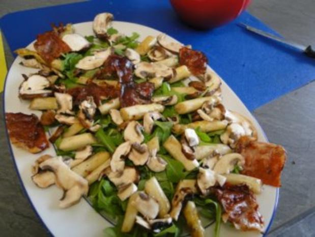 Gebratener Spargel mit gebr. Schinken, Pilze und und Parmesan, ergibt - Rezept - Bild Nr. 9