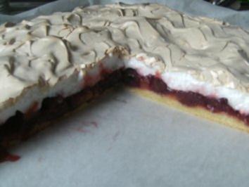 Rezept: Rharbarber-Kirsch-Kuchen mit Baiser-Decke