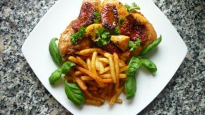 Scharfes Grappahähnchen mit Paprika-Pommes - Rezept