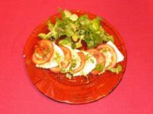 Panir und Tomaten auf Feldsalat mit Balsamico-Olivenöl-Basilikum-Dressing - Rezept - Bild Nr. 2