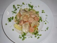 Bourride aus Fisch-Variationen u. karamellisierten Scampi - Rezept