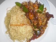 Süß - scharfes Rindfleisch mit Sesamnudeln - Rezept