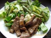 Grüner Salat mit Spargel und Filetstreifen - Rezept