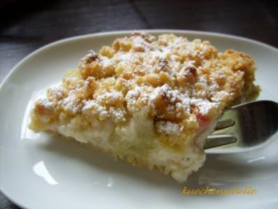 Rhabarberkuchen mit Pudding - Rezept
