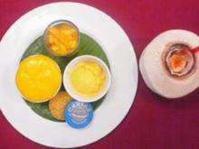 Mangoeis, Mangosalat und Mango-Espuma auf Creme Brulee - Rezept - Bild Nr. 2