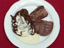 Rinder- und Straußenfilet an Kakaonudeln mit Gorgonzolasoße - Rezept - Bild Nr. 2