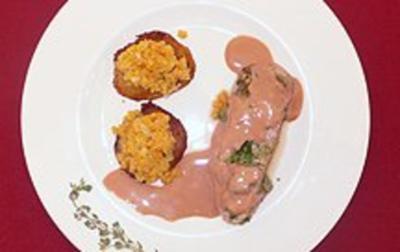 Gefüllte Schweinelende mit lauwarmen Linsen auf Kartoffeltalern - Rezept - Bild Nr. 2