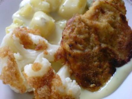 Schnitzel mit Blumenkohl und heller Soße - Rezept