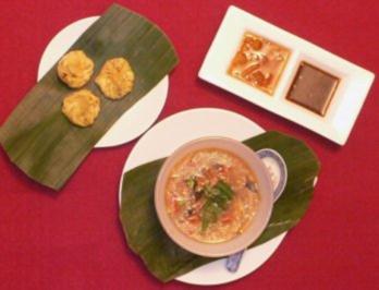 Sauer-scharfe Suppe mit Meeresfrüchten und gerösteten Wan Tans - Rezept - Bild Nr. 2