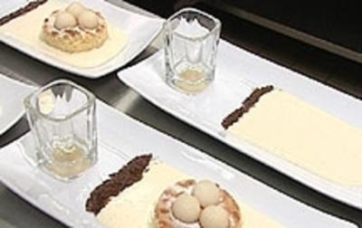 Birnenküchlein mit Birnenmus und Sahne - Rezept