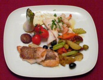 Dorade, Red Snapper, Calamari und King Prawn mit Gemüse - Rezept - Bild Nr. 2
