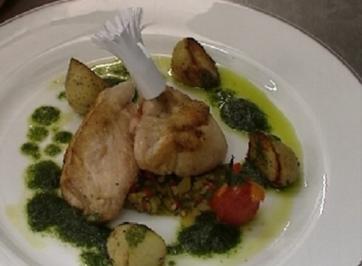Hähnchenbrust mit Thymian-Erdäpfeln u. provenzalischem Gemüse - Rezept