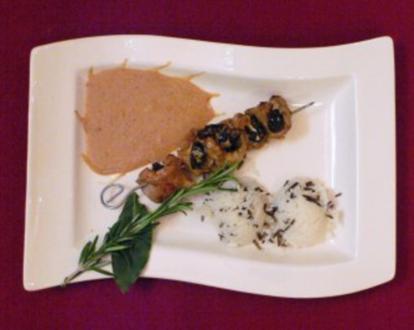 Schweinelendchen-Pflaumenspieß in Brandy-Sahnesoße mit Basmatireis - Rezept - Bild Nr. 2